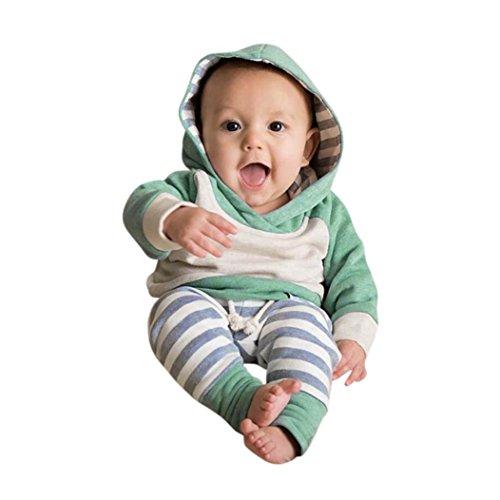 Neugeborene Kleidung Hirolan 3 Stück Kleinkind Baby Junge Mädchen Kleider Set Lange Hülse Kapuzenpullover Tops Streifen Hose Stirnband Outfits (100, Grün) (Herren-multi-streifen-shirt)