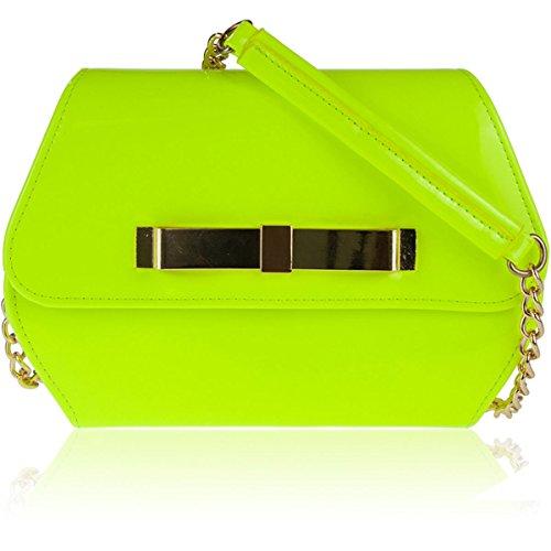 xardi London da donna Patent sella tracolla borse donna prom sera frizione Neon Yellow