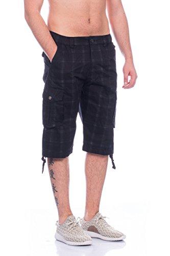 Moderne Herren Dreiviertel Hose Bermudas Shorts 4 Farben Schwarz