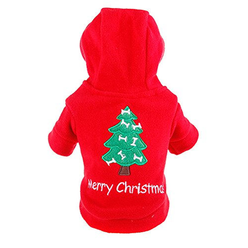 JianFeng Dog Hoodie Puppy Pet Christmas Tree Design Hooded Sweatshirt Costume Xmas Dog (Walking Tree Kostüm)