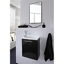 Fesselnd Lomado Waschplatz Set Mit Spiegel ○ Waschtischunterschrank In Anthrazit ○  Edelstahl Griffe, Mineralguss Waschtisch ○