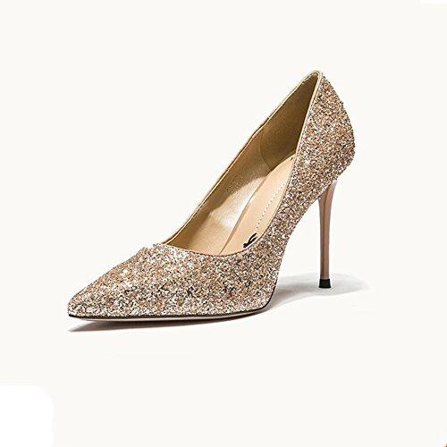 YIXINY Pumps Glänzend Damenschuhe High Heels Kleid Party Datierung Brautschuhe Absatz 9cm ( Farbe : Gold , größe : EU39/UK6/CN39 )