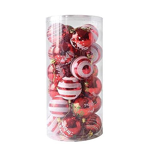 LianLe 24 Stuck Weihnachtskugeln Hanging Christmas Baubles Balls Ornaments Set für Xmas Party Dekoration