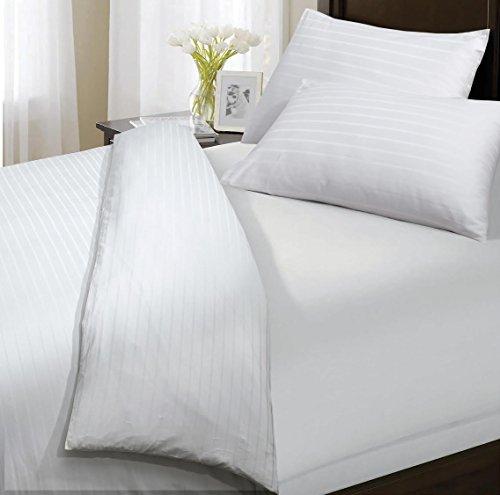 Sunshine Comforts®, 100% ägyptische Baumwolle, 300 Fadenzahl, Satin-Decke und Bettwäscheset mit Streifen:, baumwolle, cremefarben, Doppelbett (Ägyptische Baumwolle Streifen-decke)