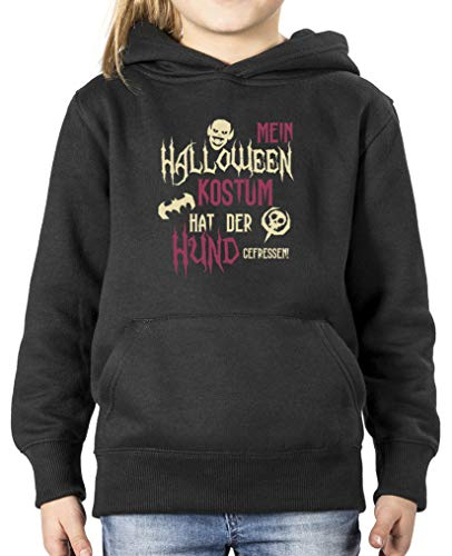 Kostüm Hunde Streich - Comedy Shirts - Mein Halloween Kostuem hat der Hund gefressen - Mädchen Hoodie - Schwarz/Beige-Fuchsia Gr. 122/128