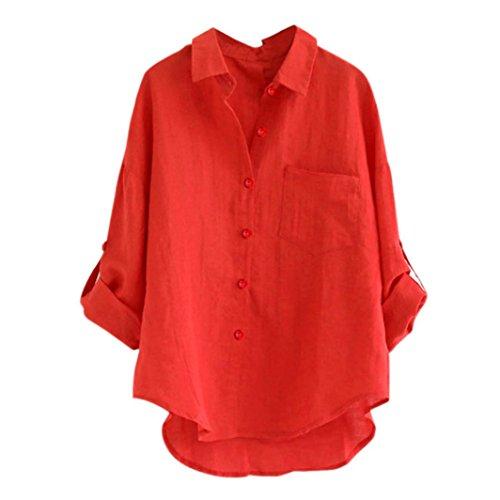 ESAILQ Damen T Shirt Damen Sommer Bluse Damen Weste Tank Top Crop Lose Blusen Große Größe Mode 2018(XL,Rot)