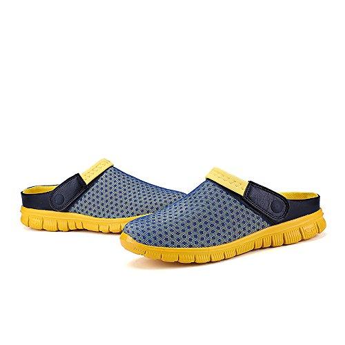 Bwiv ciabatte da spiaggia da donna e uomo zoccoli leggeri con cinturino delle taglie 37-43 Blu chiaro con cinturino giallo