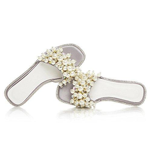 Damen Open Toe Sandalen Satin Flach Schuhe Perlen Slipper Rutsch Grau