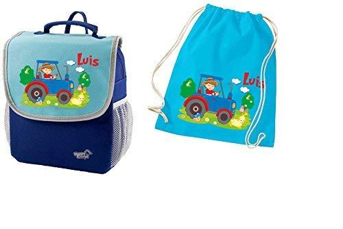 Mein Zwergenland Set 2 Kindergartenrucksack und Turnbeutel aus Baumwolle Happy Knirps Next mit Name Traktor, 2-teilig, Blau
