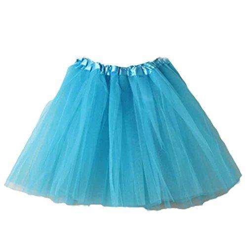 TWIFER Ballett Tutu Layered Organza Spitze Minirock Petticoat Kleid 50er jahre Rockabilly (Freie Größe, Himmelblau) (Tutu Glitzer)