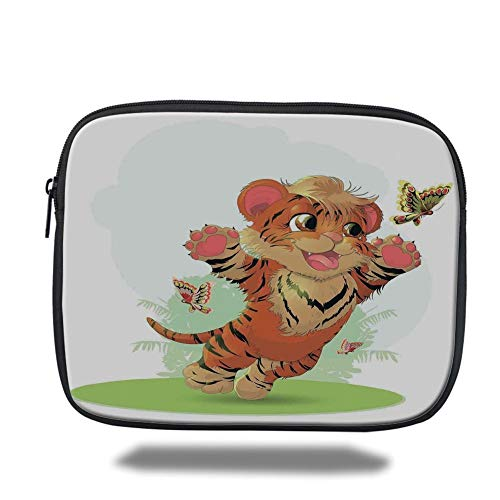 Tablet Bag for Ipad air 2/3/4/mini 9.7 inch,Cartoon Decor,Little Cub Playing with Butterflies in The Meadow Joyful Lively Baby Tiger Cat,Orange Cream Green,Bag Butterfly Meadow Tiger