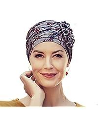 Christine Headwear Turban chimiothérapie Lotus en Bambou Gris imprimé Indien e4b81360703
