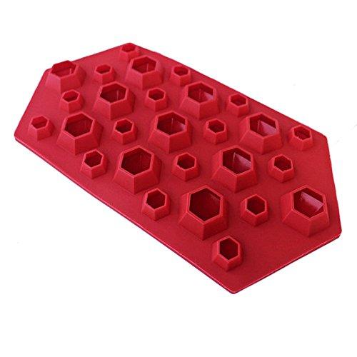 HCFKJ Diamantform Eiswürfelschale 27 Kavitäten Kristall Silikon Eisform Candy RD (Flasche Candy Baby Pops)