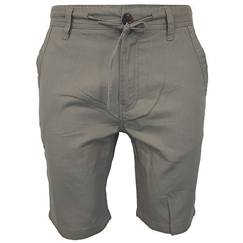 Herren Leinen Chino Shorts Threadbare knielang halbe Hose Freizeit Sommer Mode - Kiefer - luccalinb, 34 Waist x Regular (Leinen Kiefer)
