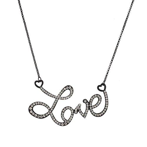 Lux Accessories - LIEBE Herz Pave Halskette mit Anhänger