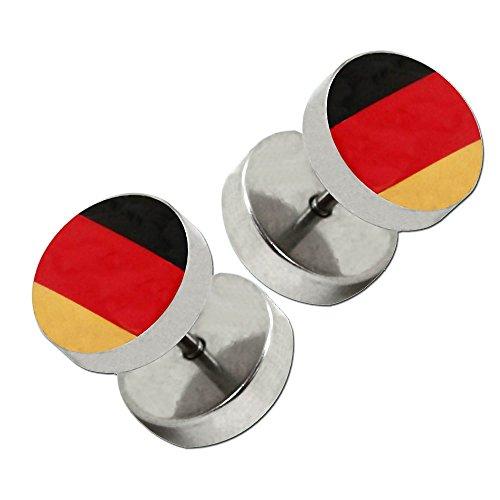 Image of 1 Paar Fakplugs Piercingschmuck Ohrstecker Fanartikel Deutschland Fussball WM EM Brasilien Ohrschmuck