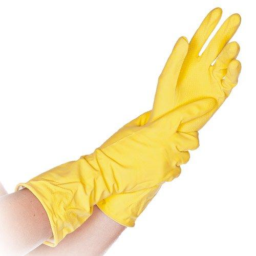 Top-Haushaltshandschuhe extra lang 30cm, Universal-Handschuh, Baumwolle beflockt, Farbe:gelb, Größe:L