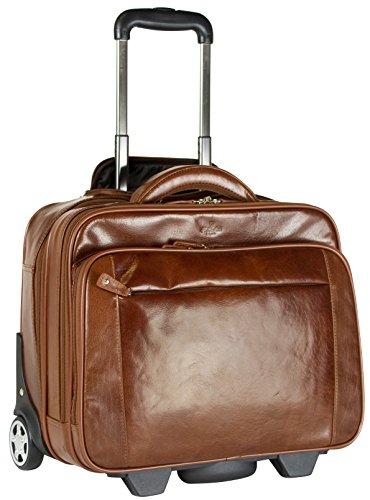 S Babila - Bagage à roulettes taille cabine - professionnel - compartiment pour ordinateur portable - cuir - cognac