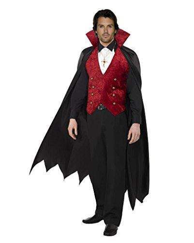 Herren Schwarz & Rot Samt Weste & Cape Vampir Kostüm Fancy Dress Halloween Hen Night Party Größe M (Märchen-cape)