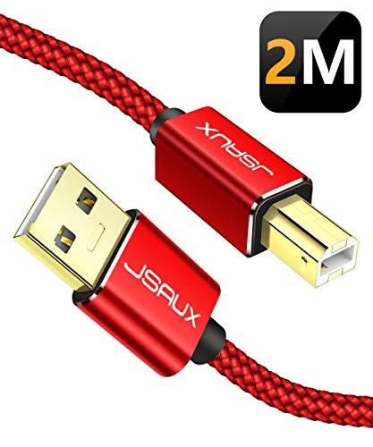 JSAUX USB Druckerkabel 2M Scanner Kabel USB A auf USB B Drucker Kabel für HP, Canon, Dell, Epson, Lexmark, Xerox, Brother, Samsung usw - Rot