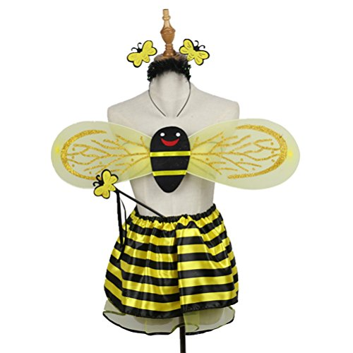 BESTOYARD Bee Kostüme Stirnband Flügel Zauberstab Tutu Rock Set Engel Mädchen Fairy Dress Outfit Weihnachten Geburtstagsgeschenk für Kinder 4 Teile / Satz (Biene) (Mädchen Engel-outfits Für)