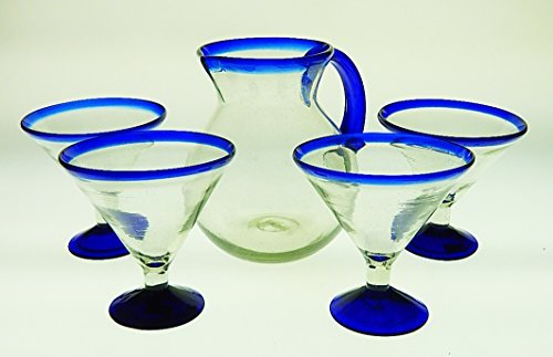 Mexican Margarita Glasses and Pitcher, Blue Rim 15 Oz (Set