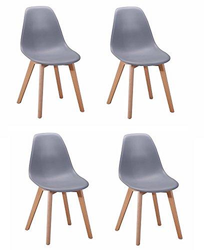 Meubletmoi 4sedie design scandinavo–seduta ergonomica–piedi in legno di faggio–collezione dawy grigio