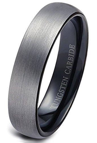 Titaniumcentral 6mm/8mm Wolframcarbid Ringe Gebürstet Trauringe Verlobungsringe (6mm(Wolframcarbid)-Schwarz, 67 (21.3)) - Palladium Eheringe Mens