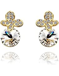 DD Free Antiallergic18K Real Gold Platedearrings Pour Les Bijoux Fashionnew Fashion Plaqué Or E1.5Cmx1.0Cm