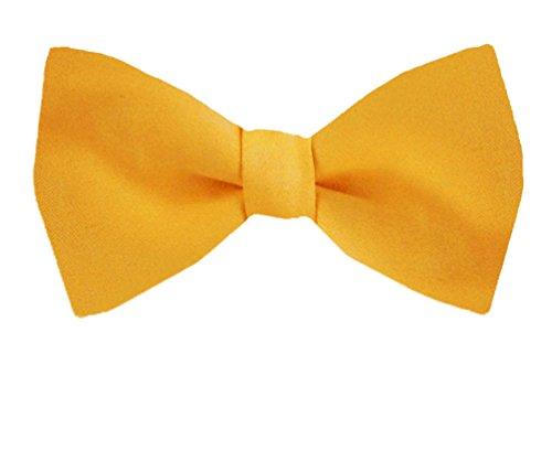 BuyYourTies PBT-ADF-49 Herren Fliege, vorgebunden, formelle Smoking-Fliege, einfarbig, einfarbig Gold Satin Cummerbund