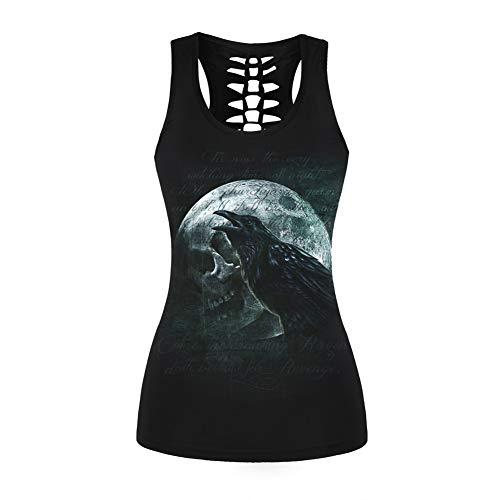Morbuy Damen Tanks Tops Halloween Bluse, Schädel Drucke Casual Sleeveless Workout Oansatz Tank Tees Punk Weste Gothic Sport Gym (L, Krähe) (Linien Krähen)