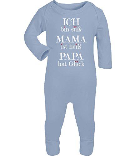 Interlock Hat (Ich bin süss, Mama ist heiß, Papa hat Glück Baby Strampler Strampelanzug 18M Hellblau)