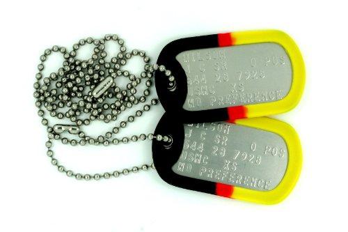 nungsmarken mit Deutschen Farben: 2 personalisierten Erkennungsmarken im Armeestil mit Kugelkette & Schalldämpfern (Militärische Personalisierte Dog Tags)