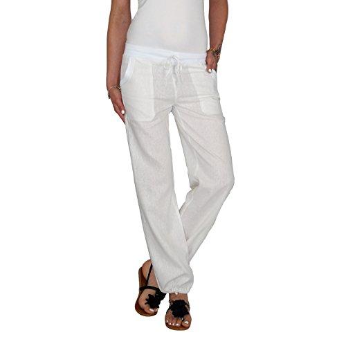 DB Leichte Damen Leinen Sommerhose in schwarz, taupebraun, blau, grau, weiß, beige, khaki, hellblau und rot (XXL / 44, Weiß) (Leinen Hose Khaki)