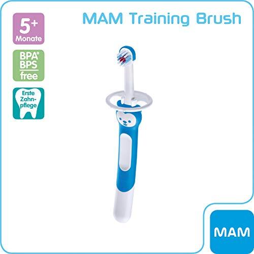 MAM Training Brush, Baby Zahnbürste mit langem Griff zum gemeinsamen Halten, Kinderzahnbürste zur sanften Zahnreinigung, ab 5+ Monate, blau
