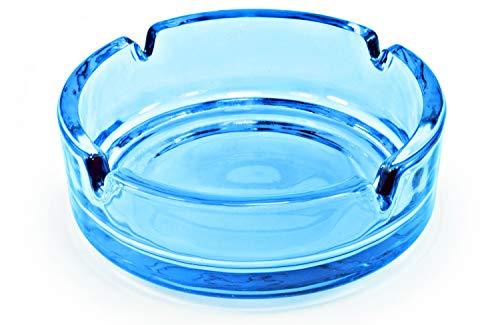 Aschenbecher aus Glas - 10,5 cm - Blau - 1 Set (Set Glas-aschenbecher)