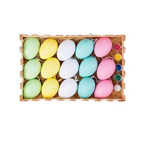 Ruspepa uova di pasqua colorate fai da te - uova con pennello e pigmento per uova di pasqua cestino da caccia e uova di pasqua - 15 pezzi
