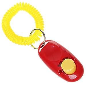 Sifflet pour chien agilité Training, et Pet Clicker de dressage de chien Sifflet de chien Clicker Lanyard Dragonne, Rouge