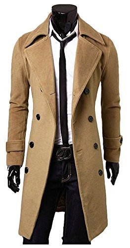 ilishop Men's Polyester, Cotton and Wool Winter Double Breasted Trench Camel Slim Long Coat, XL(Multicolour)