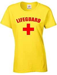 LIFEGUARD CROSS + Ladies T Shirts - FANCY DRESS BEACH PARTY Red Printed Women T Shirt