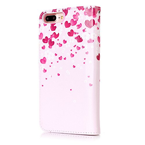 Cover iPhone 7 Plus, Custodia iPhone 8 Plus a Libro, Flip Portafoglio Cover in Pelle + Bumper Custodia in Silicone TPU Morbido, Surakey Elegante Full Body Protezione Posteriore iPhone 7 Plus Custodia  Amore Cuore Rosa