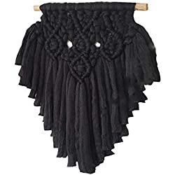 Tapiz Boho Macramé cuerda de Algodón negro