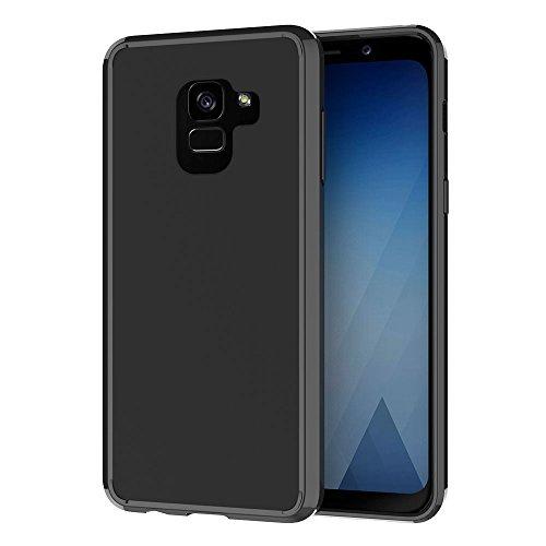 Funda Galaxy A8 2018,Ferlinso Protección contra caídas Air híbrido cristal claro TPU parachoques con la PC rígida contraportada para Samsung Galaxy A8 2018 (Full Black)