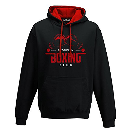 Sudadera capucha Bi Boxeo Brooklyn Boxing Club Gimnasio Ring Sport Saco 1, Jet Black-Fire Red
