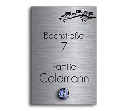 CHRISCK design - Edelstahl Türklingel mit Wunsch-Gravur Led-Beleuchtung und Motive 12x18 cm Klingel-Taster Namen Modell: Goldmann -