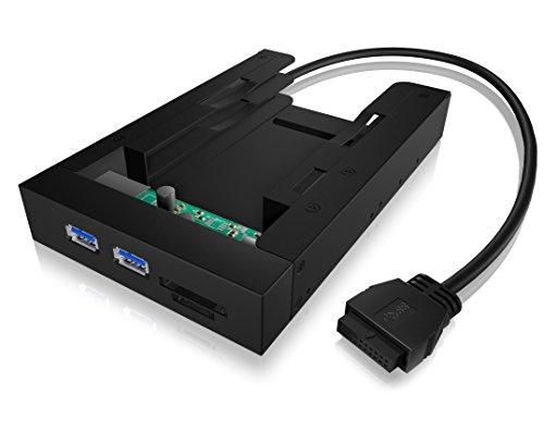 Icy Box IB-AC646 Multifunktions-Einbaurahmen für 2x 2,5 Zoll HDD/SSD in 1x 3,5 Zoll Schacht, USB 3.0, Kartenleser, Klick-System, Voll-Metall, Schwarz