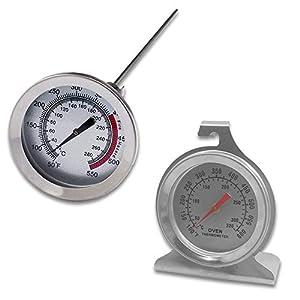 Juego de 2 termómetros de acero inoxidable para el control del horno, con base de gancho y panel y termómetro de cocina…