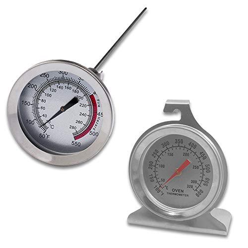Juego de 2 termómetros de acero inoxidable para el control del horno, con...