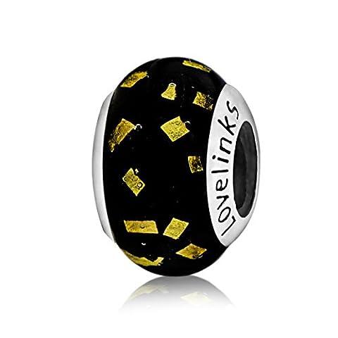 Lovelinks 925 Sterling Silver Black with Gold Glitter Murano Glass Bead