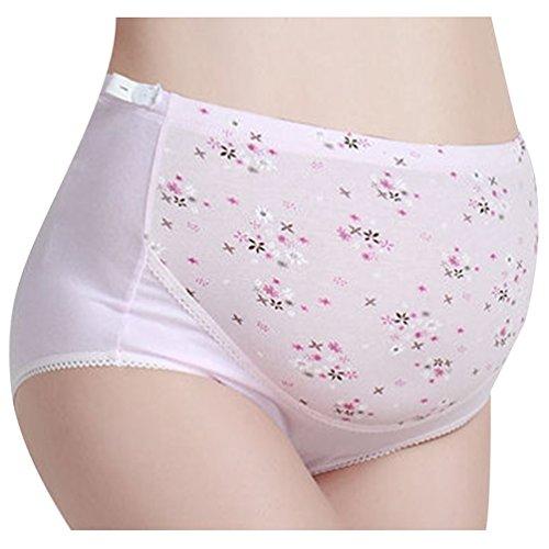 Ketamyy Damen Schwangerschafts Slip Verstellbar Umstandsmode Drucken Unterwäsche Umstandsslip Hohe Taille Atmungsaktiv Umstandsunterwäsche Rosa 3XL